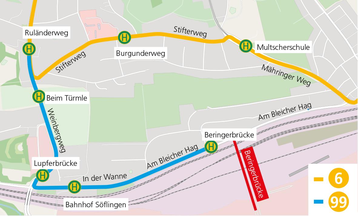 Streckenführung Linie 6 und 99
